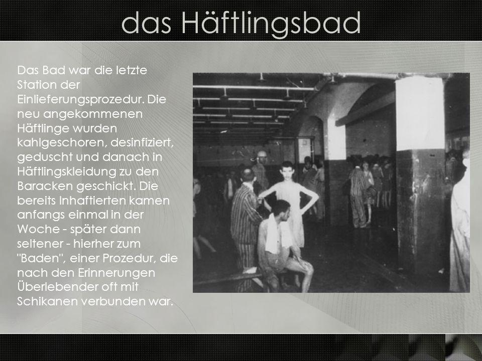 das Häftlingsbad Das Bad war die letzte Station der Einlieferungsprozedur. Die neu angekommenen Häftlinge wurden kahlgeschoren, desinfiziert, geduscht