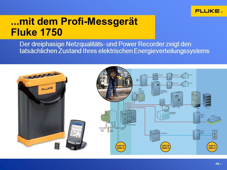 Nr....mit dem Profi-Messgerät Fluke 1750 Der dreiphasige Netzqualitäts- und Power Recorder zeigt den tatsächlichen Zustand Ihres elektrischen Energiev