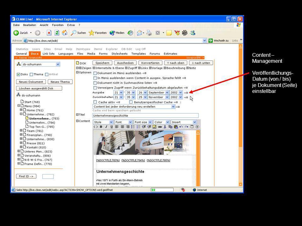 Content – Management Veröffentlichungs- Datum (von / bis) je Dokument (Seite) einstellbar