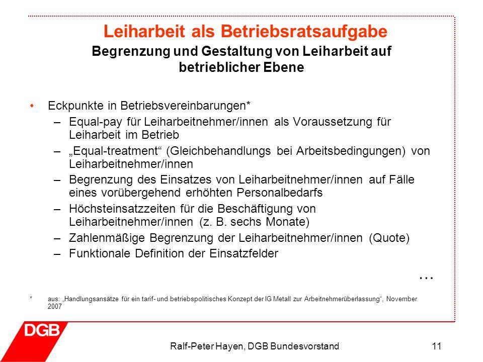 Leiharbeit als Betriebsratsaufgabe Ralf-Peter Hayen, DGB Bundesvorstand11 Eckpunkte in Betriebsvereinbarungen* –Equal-pay für Leiharbeitnehmer/innen a