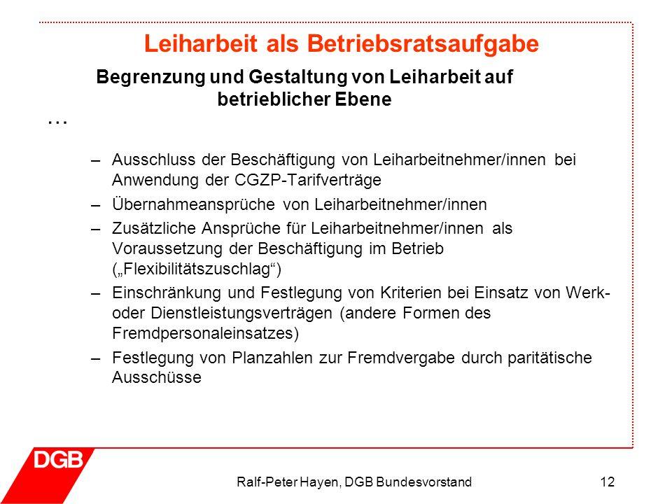Leiharbeit als Betriebsratsaufgabe Ralf-Peter Hayen, DGB Bundesvorstand12 –Ausschluss der Beschäftigung von Leiharbeitnehmer/innen bei Anwendung der C