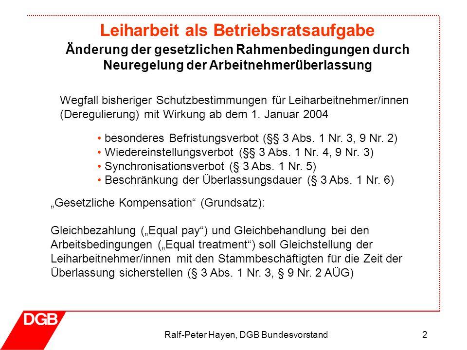 Leiharbeit als Betriebsratsaufgabe Ralf-Peter Hayen, DGB Bundesvorstand2 Wegfall bisheriger Schutzbestimmungen für Leiharbeitnehmer/innen (Deregulieru