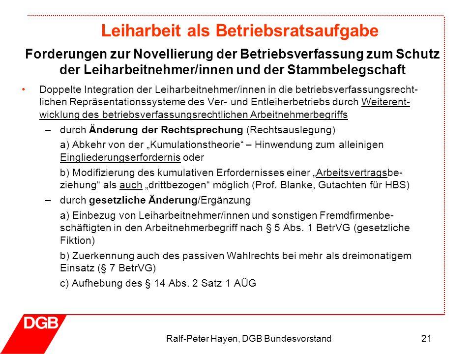 Leiharbeit als Betriebsratsaufgabe Ralf-Peter Hayen, DGB Bundesvorstand21 Doppelte Integration der Leiharbeitnehmer/innen in die betriebsverfassungsre
