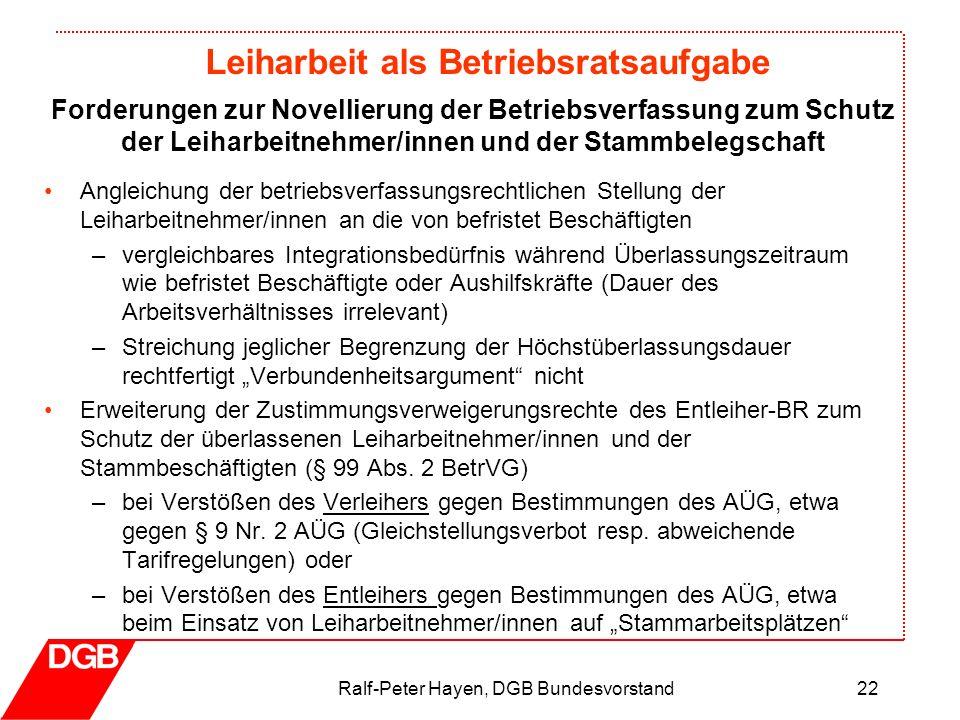 Leiharbeit als Betriebsratsaufgabe Ralf-Peter Hayen, DGB Bundesvorstand22 Angleichung der betriebsverfassungsrechtlichen Stellung der Leiharbeitnehmer