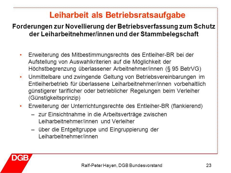Leiharbeit als Betriebsratsaufgabe Ralf-Peter Hayen, DGB Bundesvorstand23 Erweiterung des Mitbestimmungsrechts des Entleiher-BR bei der Aufstellung vo