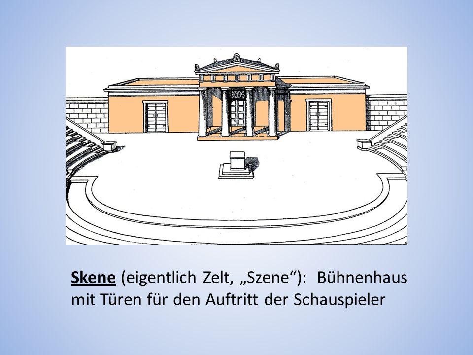 Skene (eigentlich Zelt, Szene): Bühnenhaus mit Türen für den Auftritt der Schauspieler