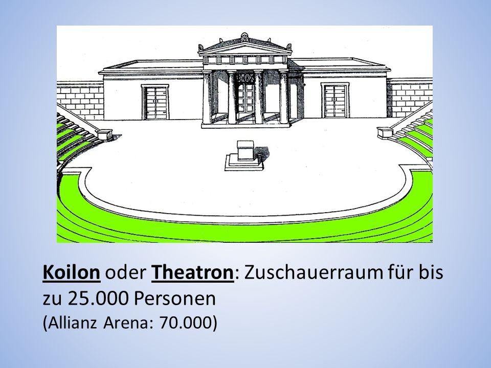 Koilon oder Theatron: Zuschauerraum für bis zu 25.000 Personen (Allianz Arena: 70.000)