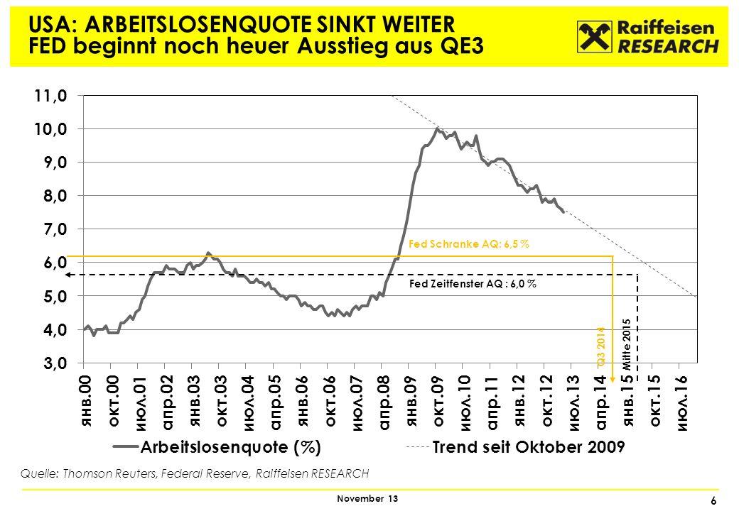 7 November 13 ANGST VOR TRENDWENDE BEI LIQUIDITÄT Liquiditätszufuhr der Notenbanken seit 2008* * Index 25.