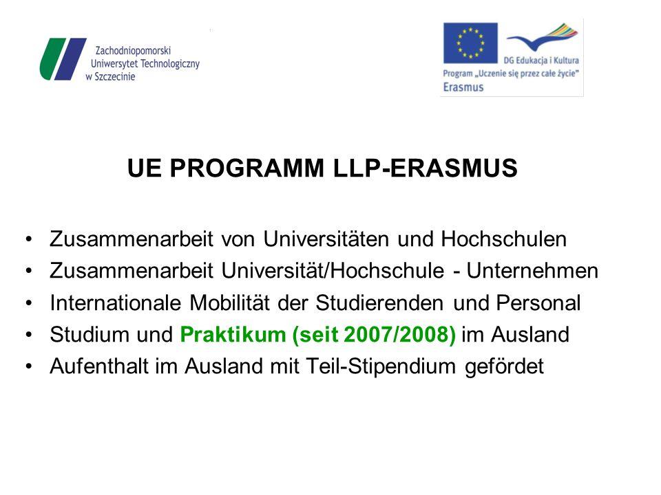 UE PROGRAMM LLP-ERASMUS Zusammenarbeit von Universitäten und Hochschulen Zusammenarbeit Universität/Hochschule - Unternehmen Internationale Mobilität