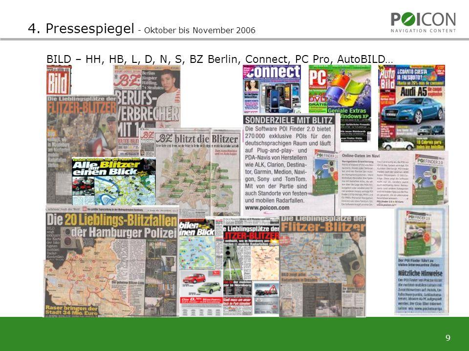 9 4. Pressespiegel - Oktober bis November 2006 BILD – HH, HB, L, D, N, S, BZ Berlin, Connect, PC Pro, AutoBILD…