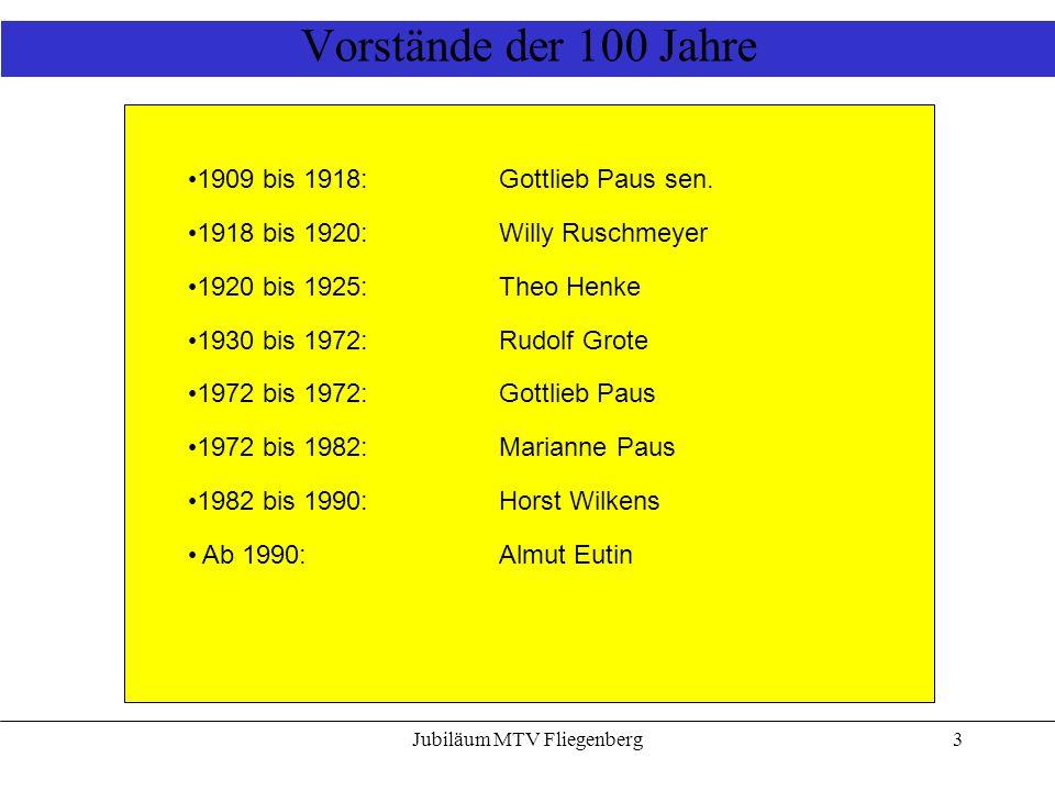 Jubiläum MTV Fliegenberg3 Vorstände der 100 Jahre 1909 bis 1918: Gottlieb Paus sen. 1918 bis 1920: Willy Ruschmeyer 1920 bis 1925: Theo Henke 1930 bis