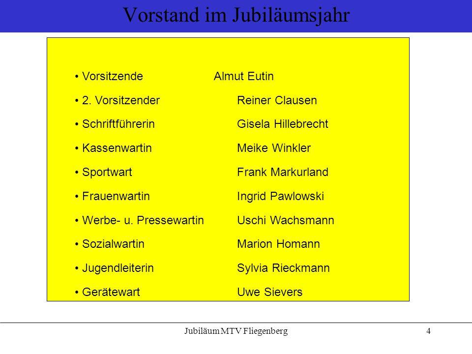 Jubiläum MTV Fliegenberg4 Vorstand im Jubiläumsjahr VorsitzendeAlmut Eutin 2. Vorsitzender Reiner Clausen SchriftführerinGisela Hillebrecht Kassenwart