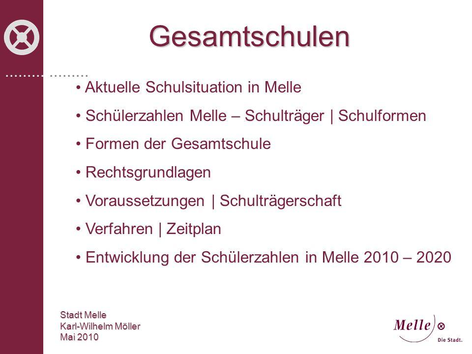 ................... Gesamtschulen Stadt Melle Karl-Wilhelm Möller Mai 2010 Aktuelle Schulsituation in Melle Schülerzahlen Melle – Schulträger | Schulf