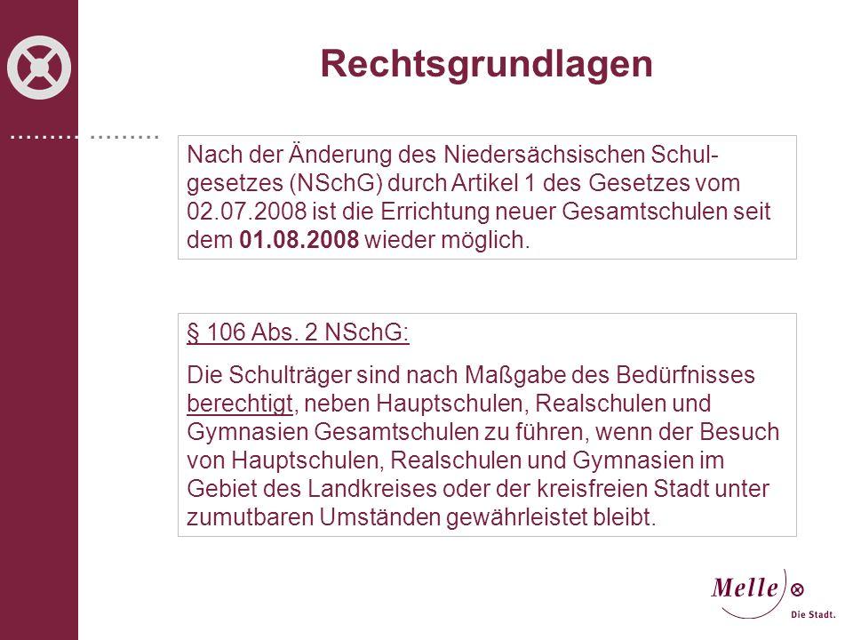 ................... Rechtsgrundlagen Nach der Änderung des Niedersächsischen Schul- gesetzes (NSchG) durch Artikel 1 des Gesetzes vom 02.07.2008 ist d