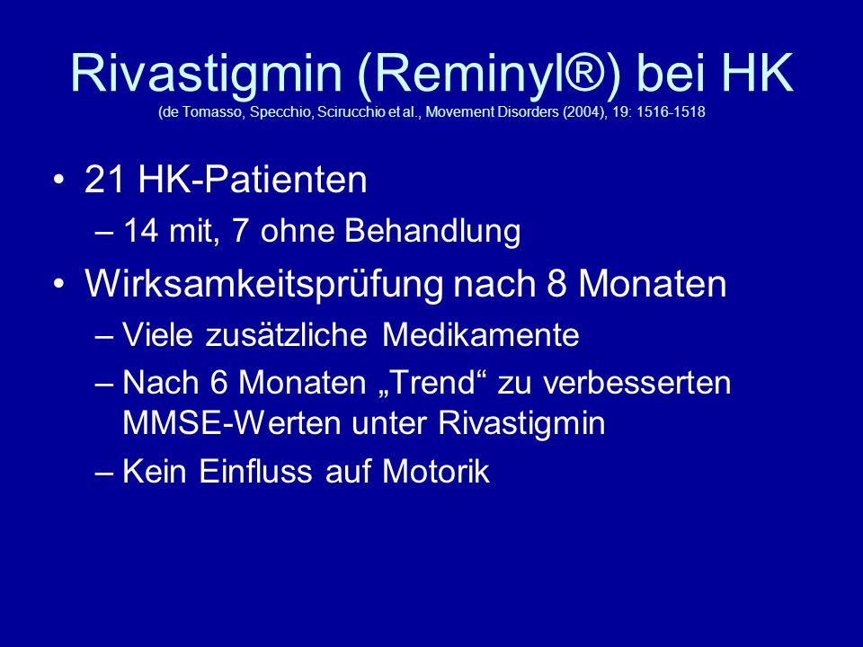 Rivastigmin (Reminyl®) bei HK (de Tomasso, Specchio, Scirucchio et al., Movement Disorders (2004), 19: 1516-1518 21 HK-Patienten –14 mit, 7 ohne Behan