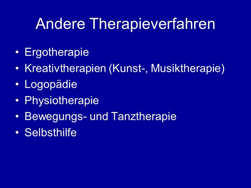 Andere Therapieverfahren Ergotherapie Kreativtherapien (Kunst-, Musiktherapie) Logopädie Physiotherapie Bewegungs- und Tanztherapie Selbsthilfe