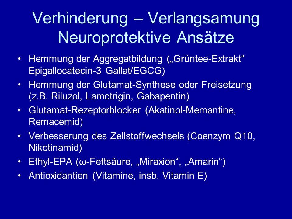 Verhinderung – Verlangsamung Neuroprotektive Ansätze Hemmung der Aggregatbildung (Grüntee-Extrakt Epigallocatecin-3 Gallat/EGCG) Hemmung der Glutamat-