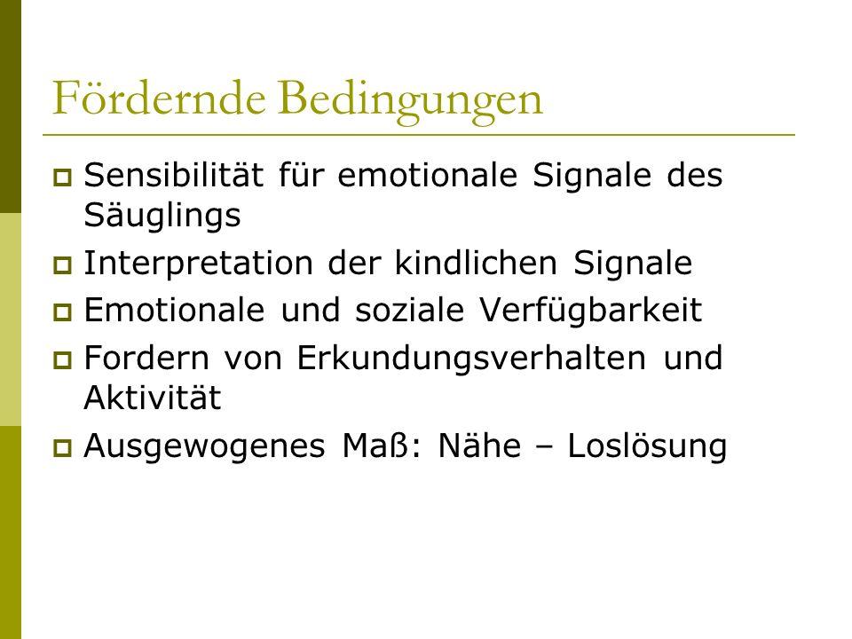 Fördernde Bedingungen Sensibilität für emotionale Signale des Säuglings Interpretation der kindlichen Signale Emotionale und soziale Verfügbarkeit For