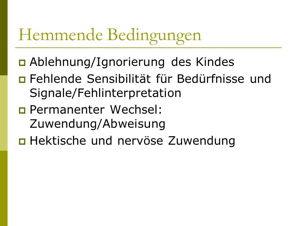 Hemmende Bedingungen Ablehnung/Ignorierung des Kindes Fehlende Sensibilität für Bedürfnisse und Signale/Fehlinterpretation Permanenter Wechsel: Zuwend