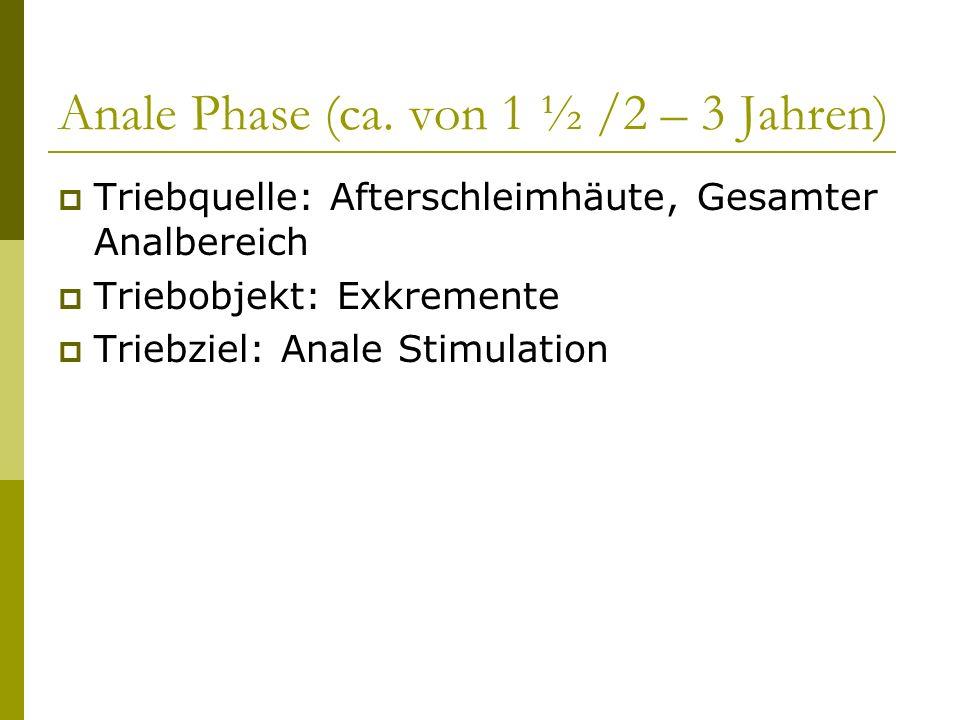 Anale Phase (ca. von 1 ½ /2 – 3 Jahren) Triebquelle: Afterschleimhäute, Gesamter Analbereich Triebobjekt: Exkremente Triebziel: Anale Stimulation
