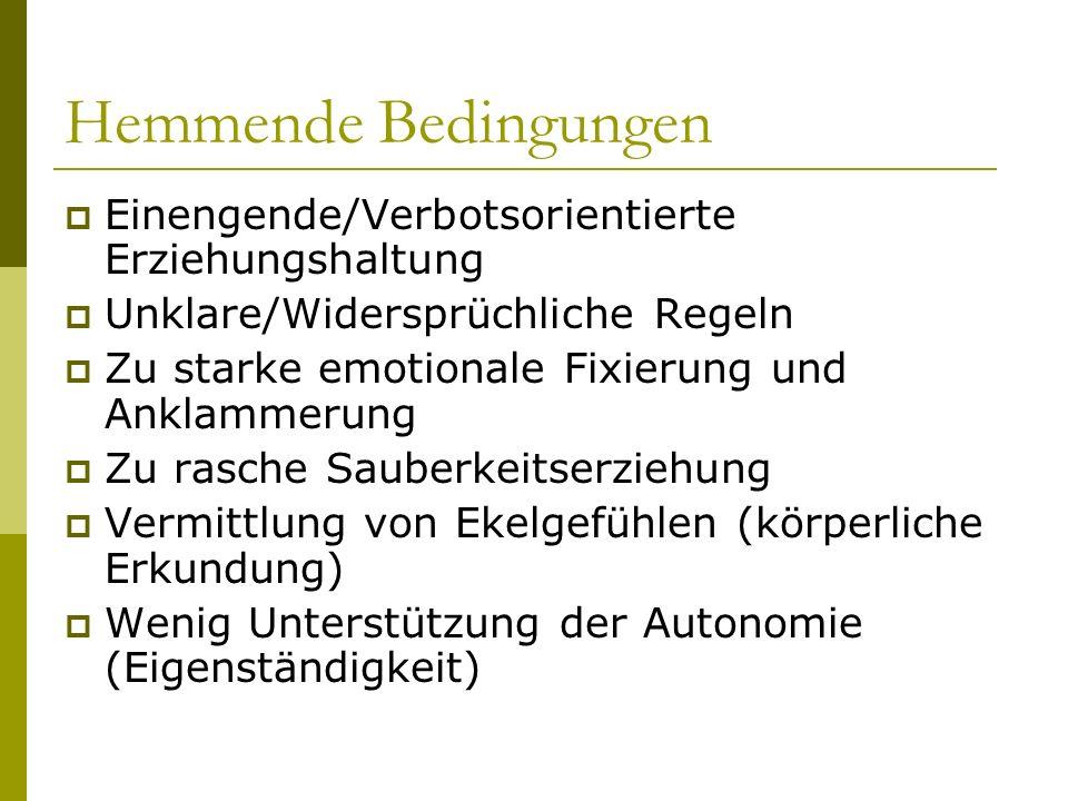 Hemmende Bedingungen Einengende/Verbotsorientierte Erziehungshaltung Unklare/Widersprüchliche Regeln Zu starke emotionale Fixierung und Anklammerung Z