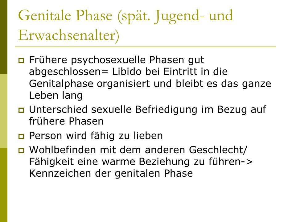 Genitale Phase (spät. Jugend- und Erwachsenalter) Frühere psychosexuelle Phasen gut abgeschlossen= Libido bei Eintritt in die Genitalphase organisiert
