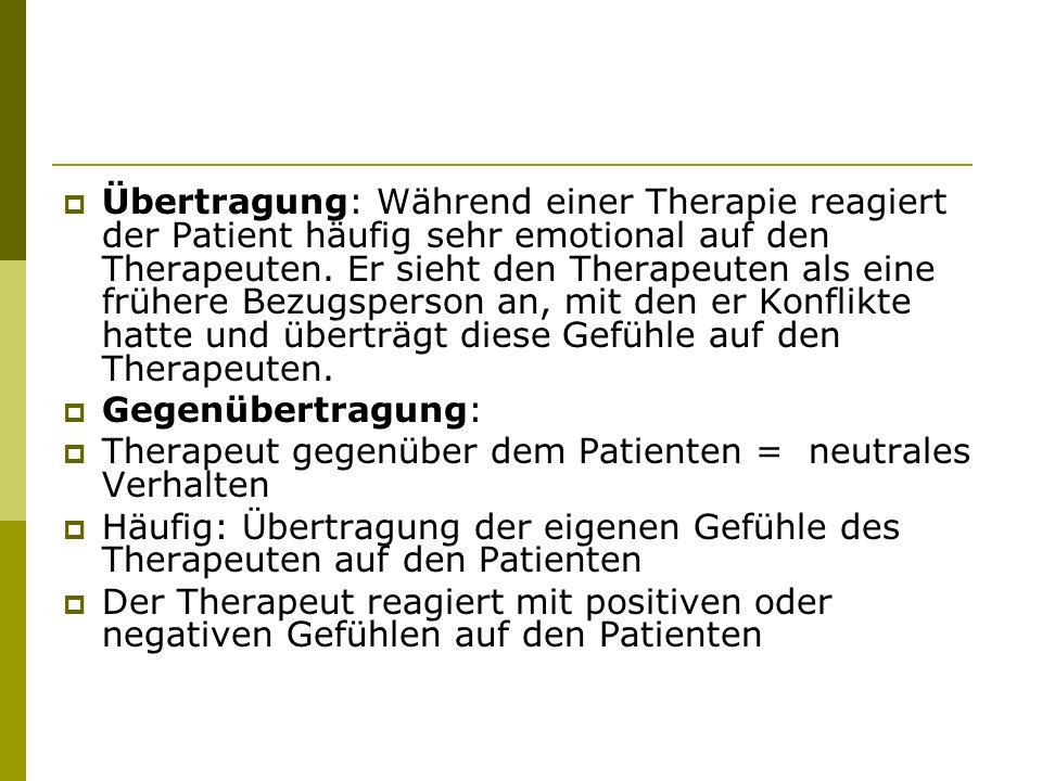 Übertragung: Während einer Therapie reagiert der Patient häufig sehr emotional auf den Therapeuten. Er sieht den Therapeuten als eine frühere Bezugspe
