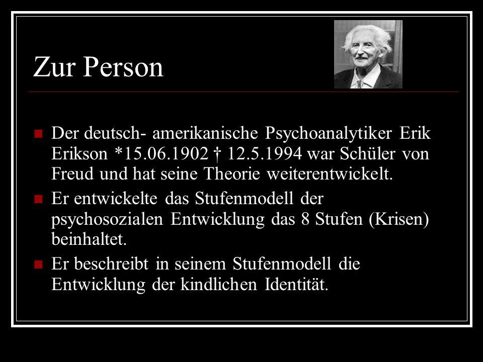 Zur Person Der deutsch- amerikanische Psychoanalytiker Erik Erikson *15.06.1902 12.5.1994 war Schüler von Freud und hat seine Theorie weiterentwickelt.