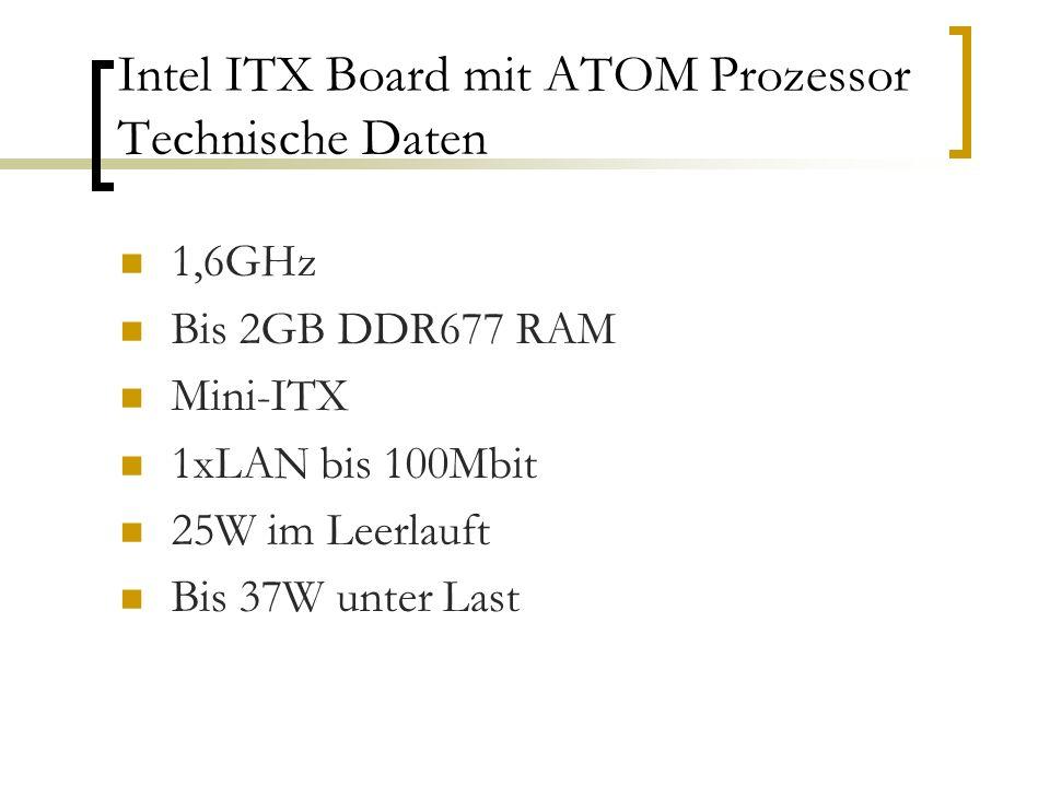Intel ITX Board mit ATOM Prozessor Technische Daten 1,6GHz Bis 2GB DDR677 RAM Mini-ITX 1xLAN bis 100Mbit 25W im Leerlauft Bis 37W unter Last