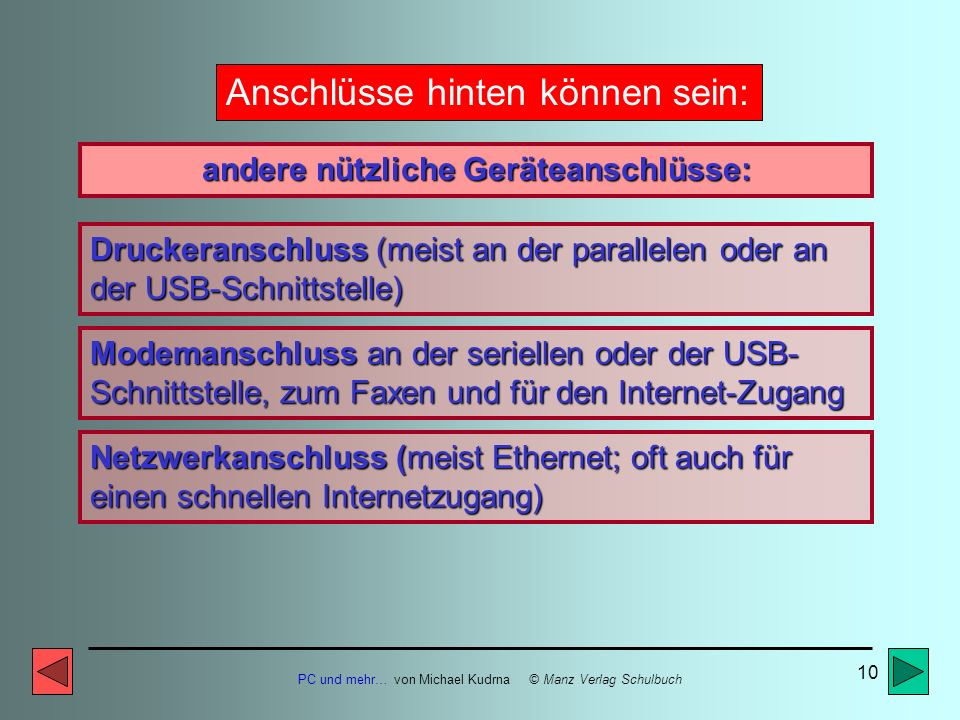 PC und mehr… von Michael Kudrna © Manz Verlag Schulbuch 9 Anschlüsse hinten können sein: Tastaturanschluss (meist runder Stecker) unbedingt zum Betrie