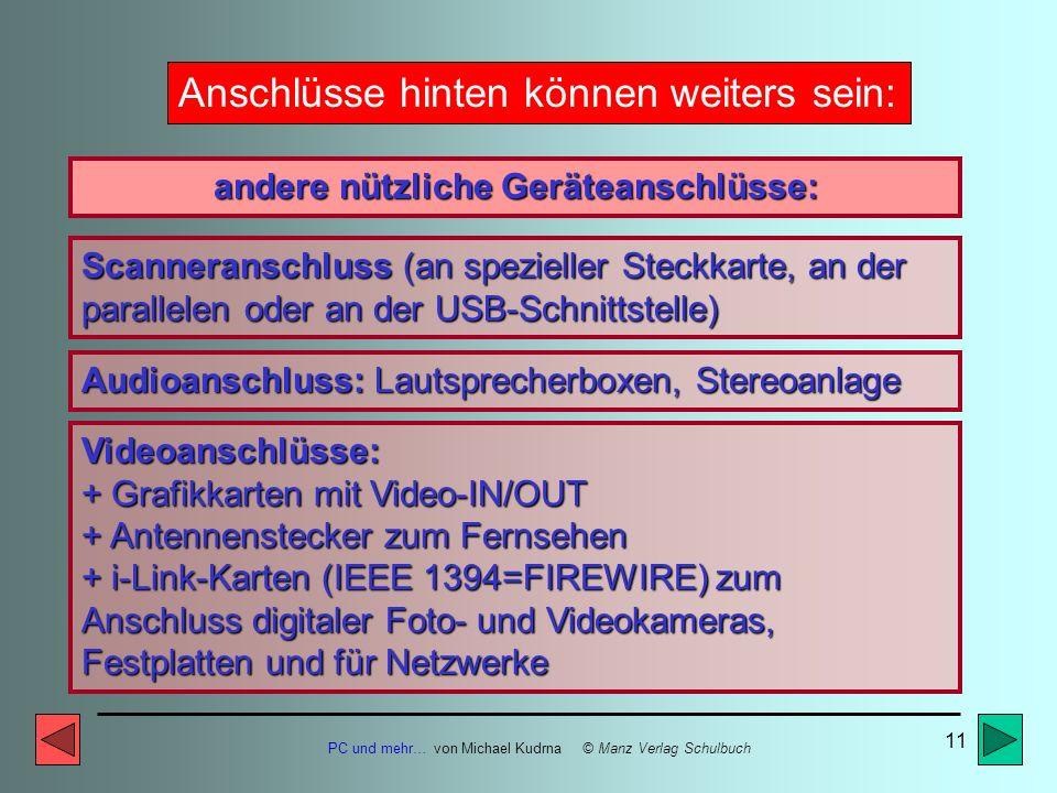 PC und mehr… von Michael Kudrna © Manz Verlag Schulbuch 10 Anschlüsse hinten können sein: andere nützliche Geräteanschlüsse: Druckeranschluss (meist a