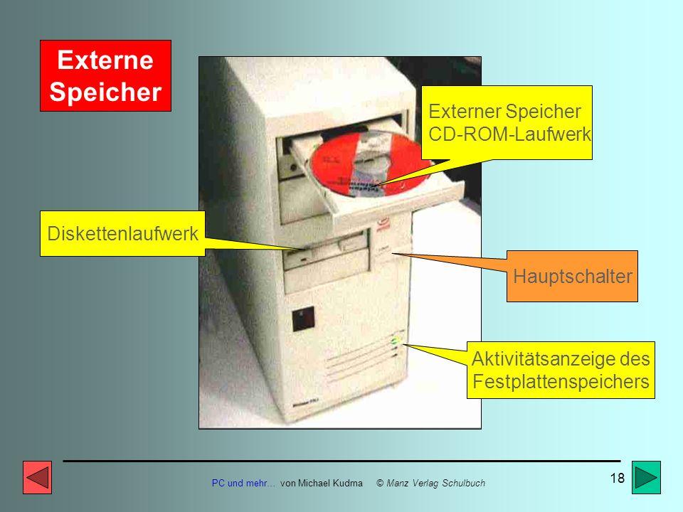 PC und mehr… von Michael Kudrna © Manz Verlag Schulbuch 17 Hauptplatine (MAINBOARD) Erweiterungs- steckplätze (ISA) Arbeitsspeicher- module (RAM) Proz