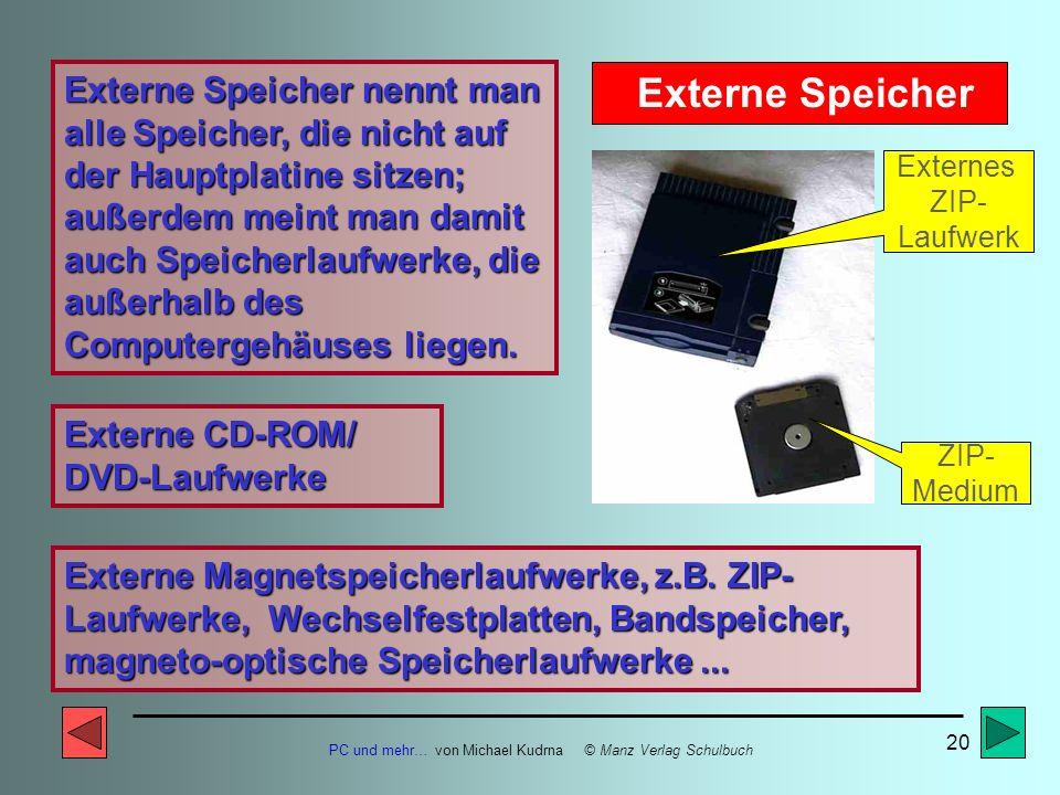 PC und mehr… von Michael Kudrna © Manz Verlag Schulbuch 19 Externer Speicher CD-/DVD-ROM- Laufwerk Externer Speicher ZIP-Laufwerk (interne Ausführung)