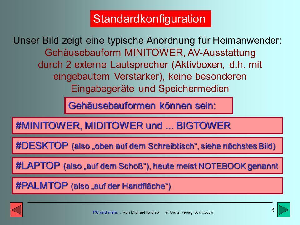 PC und mehr… von Michael Kudrna © Manz Verlag Schulbuch 2 Ausgabegerät MONITOR Eingabegerät TASTATUR Eingabegerät MAUS Computer mit MINITOWER- Gehäuse