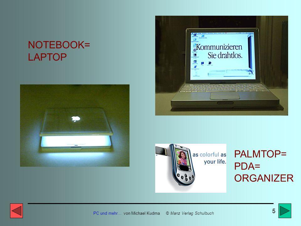 PC und mehr… von Michael Kudrna © Manz Verlag Schulbuch 5 PALMTOP= PDA= ORGANIZER NOTEBOOK= LAPTOP