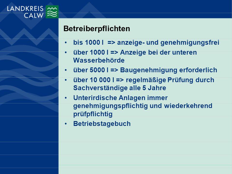 Betreiberpflichten bis 1000 l => anzeige- und genehmigungsfrei über 1000 l => Anzeige bei der unteren Wasserbehörde über 5000 l => Baugenehmigung erfo