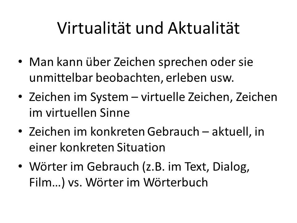 Virtualität und Aktualität Man kann über Zeichen sprechen oder sie unmittelbar beobachten, erleben usw. Zeichen im System – virtuelle Zeichen, Zeichen