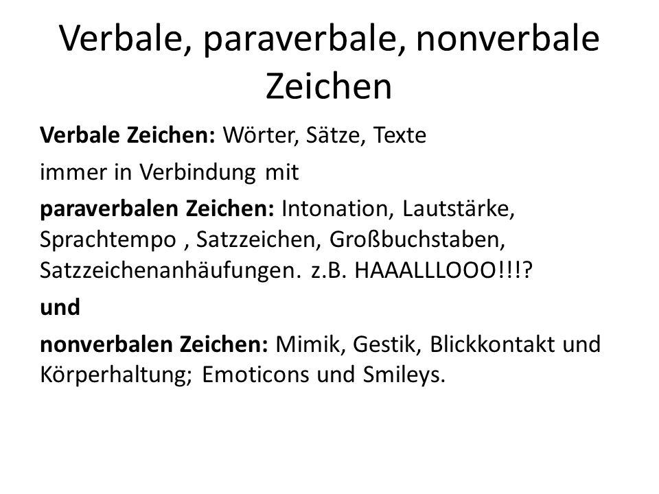 Verbale, paraverbale, nonverbale Zeichen Verbale Zeichen: Wörter, Sätze, Texte immer in Verbindung mit paraverbalen Zeichen: Intonation, Lautstärke, S