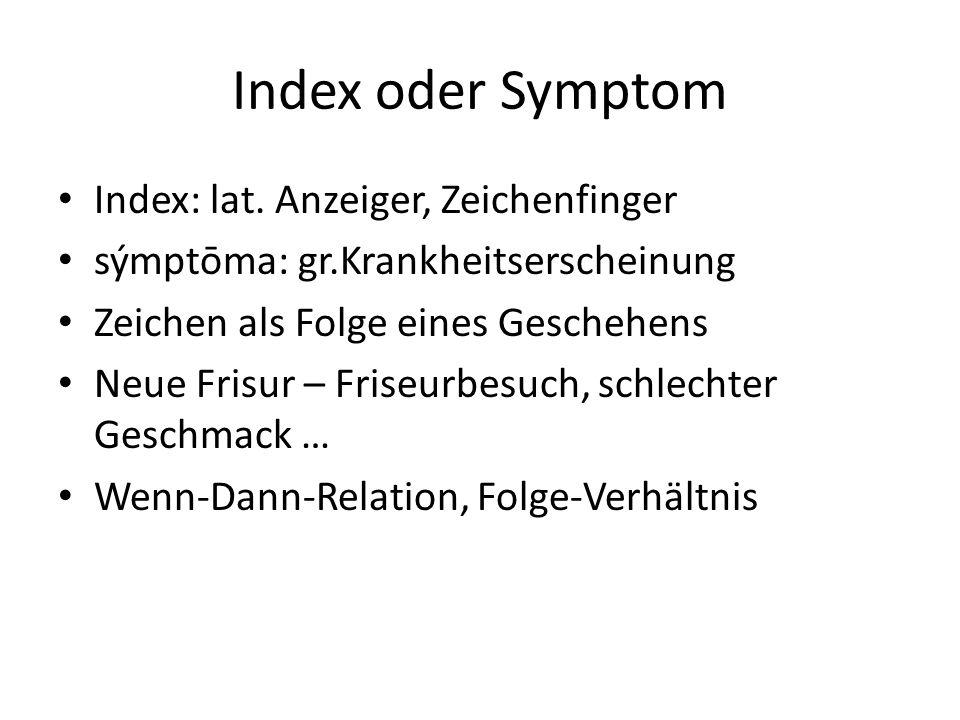 Index oder Symptom Index: lat. Anzeiger, Zeichenfinger sýmptōma: gr.Krankheitserscheinung Zeichen als Folge eines Geschehens Neue Frisur – Friseurbesu