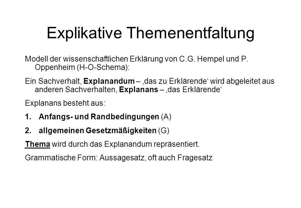 Explikative Themenentfaltung Modell der wissenschaftlichen Erklärung von C.G. Hempel und P. Oppenheim (H-O-Schema): Ein Sachverhalt, Explanandum – das