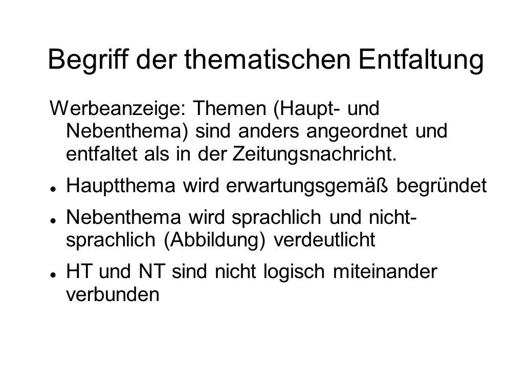 Grundformen der thematischen Entfaltung 1.deskriptiv (beschreibend) 2.narrativ (erzählend) 3.explikativ (erklärend) 4.