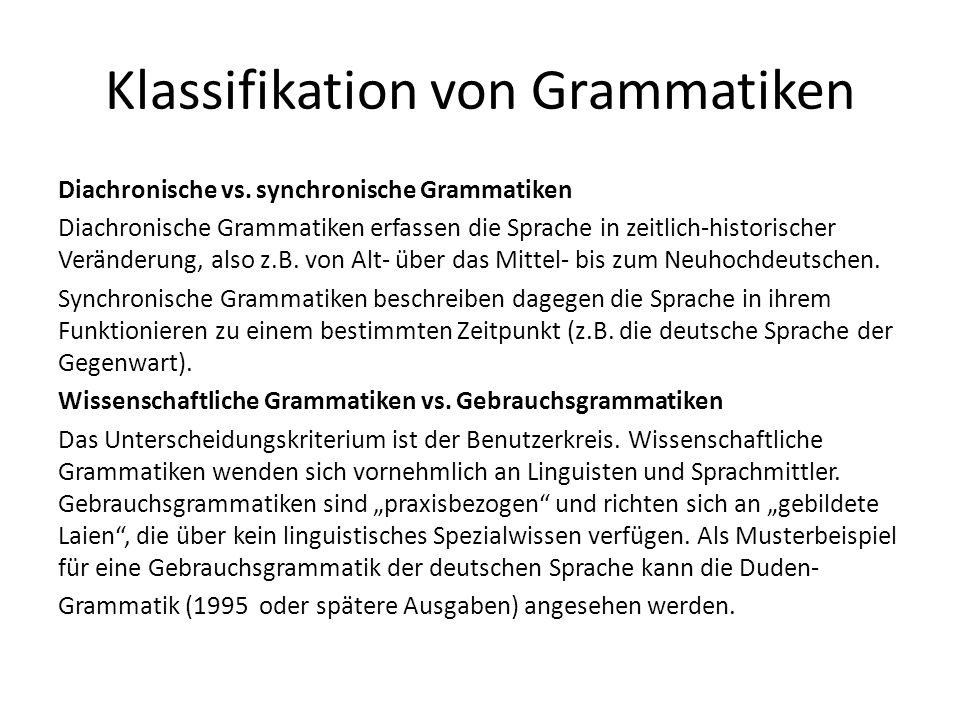Klassifikation von Grammatiken Diachronische vs.