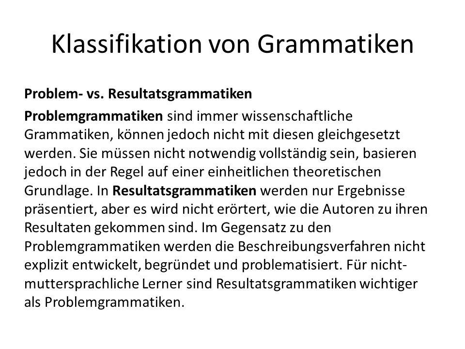 Klassifikation von Grammatiken Problem- vs.