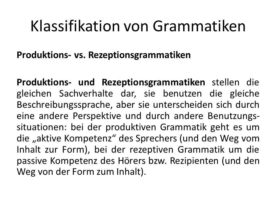 Klassifikation von Grammatiken Produktions- vs.