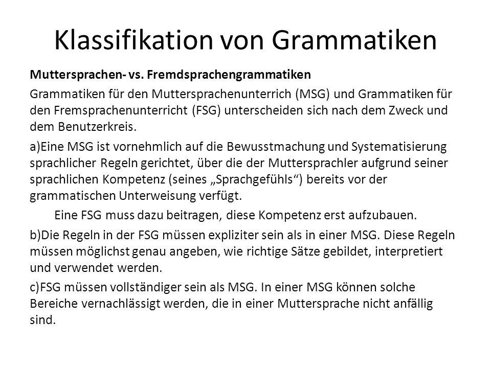 Klassifikation von Grammatiken Muttersprachen- vs.