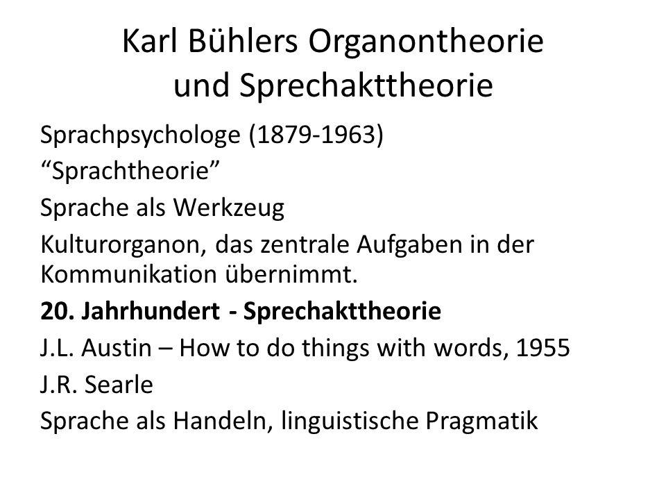 Karl Bühlers Organontheorie und Sprechakttheorie Sprachpsychologe (1879-1963) Sprachtheorie Sprache als Werkzeug Kulturorganon, das zentrale Aufgaben