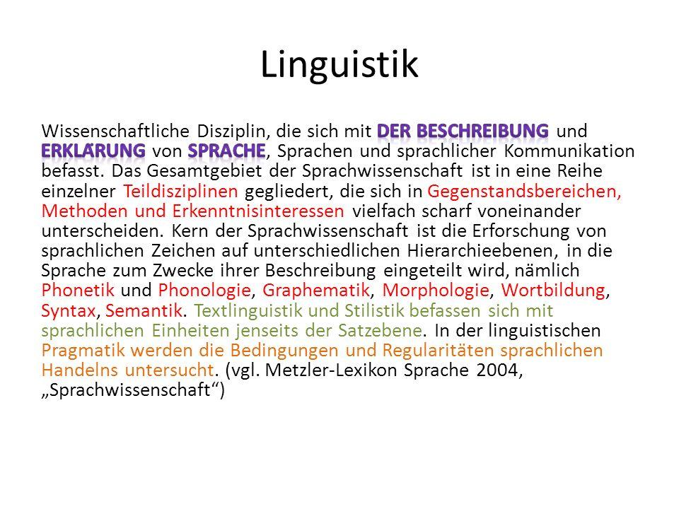 Linguistische Definition von Sprache Sprache (engl.