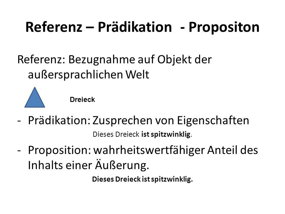 Referenz – Prädikation - Propositon Referenz: Bezugnahme auf Objekt der außersprachlichen Welt -Prädikation: Zusprechen von Eigenschaften Dieses Dreie