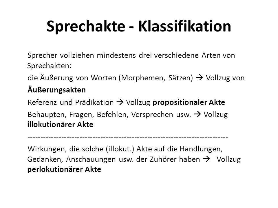 Sprechakte - Klassifikation Sprecher vollziehen mindestens drei verschiedene Arten von Sprechakten: die Äußerung von Worten (Morphemen, Sätzen) Vollzu