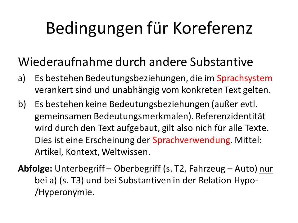 Bedingungen für Koreferenz Wiederaufnahme durch andere Substantive a)Es bestehen Bedeutungsbeziehungen, die im Sprachsystem verankert sind und unabhängig vom konkreten Text gelten.